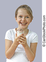 Girl eating chocolate ice cream
