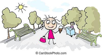 Girl eating ice cream in park. Vector cartoon
