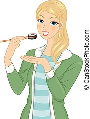 Illustration of a Girl Eating a Piece of Maki With a Pair of Chopsticks