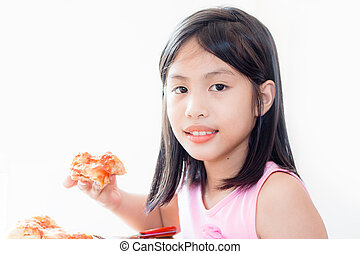 girl eating pizza, isolated on white background