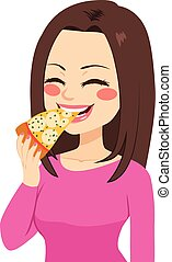 Girl Eating Pizza - Young beautiful happy girl eating a...
