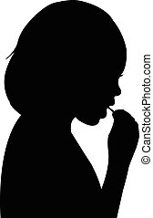 girl eating, silhouette vector