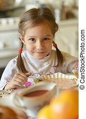 Girl eating soup