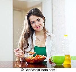 girl eating vegetarian lunch