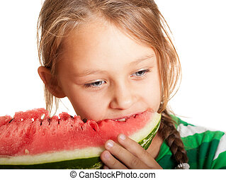girl eating watermelon on a white background