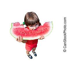 girl eating watermelon