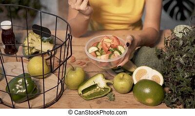 Girl Eats Vegetable Salad