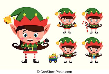 Girl elf christmas vector character set. Kid elves cartoon characters playing