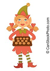 Girl elf in cone hat holds tray full of cookies - Girl elf...