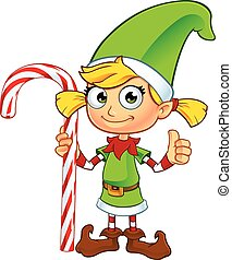Girl Elf In Green Character - A cartoon illustration of a...