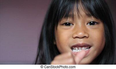girl, elle, agiter, tooth-close, haut