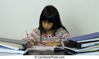 girl, elle, asiatique, devoirs
