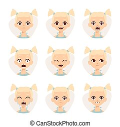 Smiley icons set of cute girls with different emotions vector illustration.