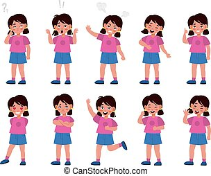 Girl emotions set. Emotional kid character in different poses, feelings expression, mood options, body language, happy and unhappy. Vector flat cartoon children character collection