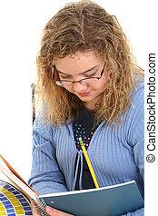 girl, enfant, écriture