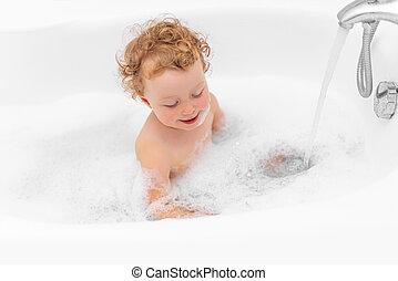 girl, enfant, bath., baigne