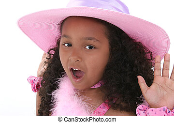 girl, enfant, chapeau