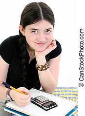 girl, enfant, devoirs