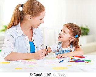 girl, enfant, image, peint, maison, mère