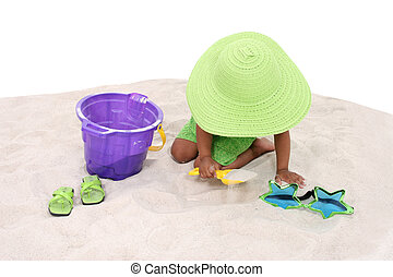 girl, enfant, jeu, sable