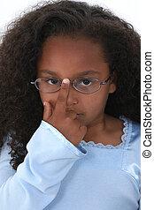 girl, enfant, lunettes