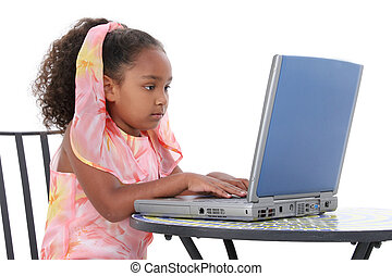 girl, enfant, ordinateur portable