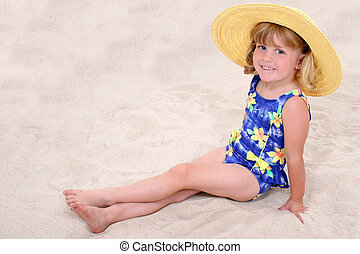girl, enfant, plage