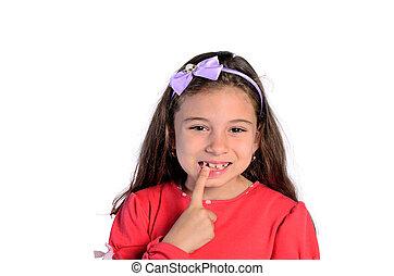 girl, enfant, pointage, dents