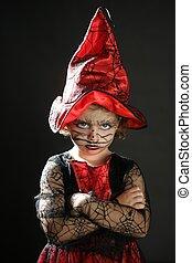 girl, enfantqui commence à marcher, halloween, déguisement