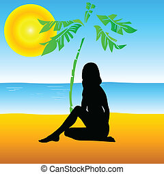 girl enjoy on the sands with palm vector illustration