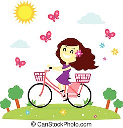 A Girl enjoy riding a bicycle at park with the butterflies (in Flat Cartoon Style)