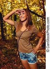 Girl Enjoying In Nature
