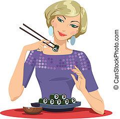Girl Enjoying Sushi