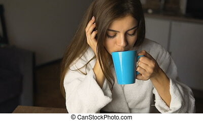 Girl Enjoys Coffee Time