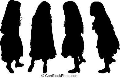 girl, ensemble, silhouettes
