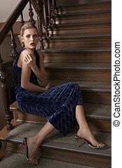 girl, escalier, beauté, séance
