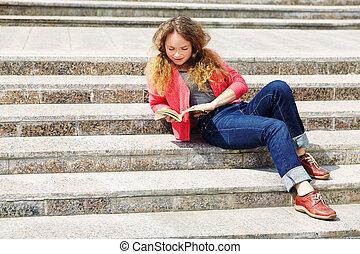 girl, escalier