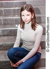 girl, escalier, séance