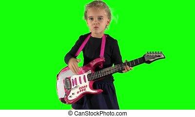 girl, espiègle, jouet, jeu guitare, guitariste