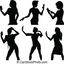 girl, esprit, silhouettes, selfie, prendre