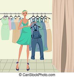 girl, essayer, pregnant, vêtements