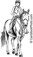 girl, et, cheval