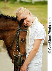 girl, et, poney