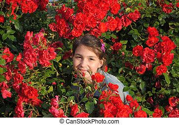 girl, et, roses.
