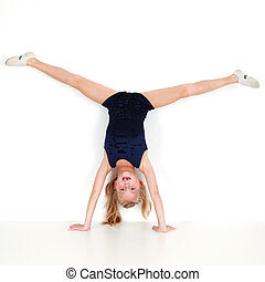 girl, exécuter, gymnastique, enfant