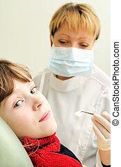 girl, examen, dentiste
