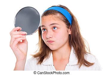 girl, examiner, boutons, elle, miroir