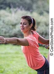 Girl exercise in park