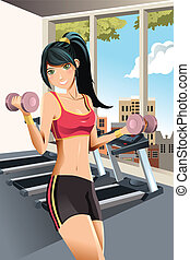 Girl exercising - A vector illustration of a beautiful girl...