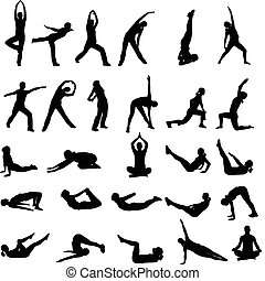 girl exercising silhouettes - silhouettes of girl exercising...